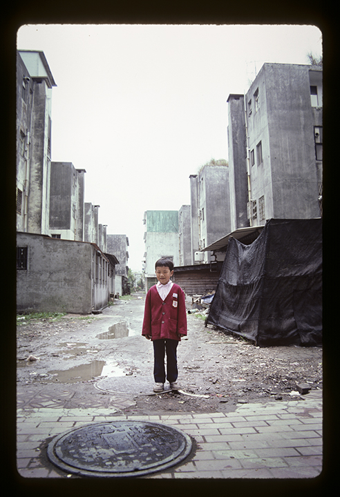 School boy in an alley, Taipei, Taiwan, 1987