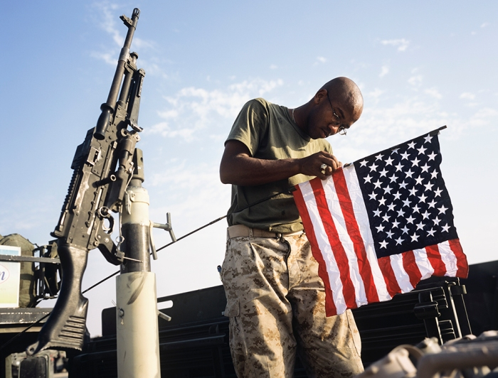 Marine with 24th MEU, hours before crossing the  border into Iraq from Kuwait, July 2004