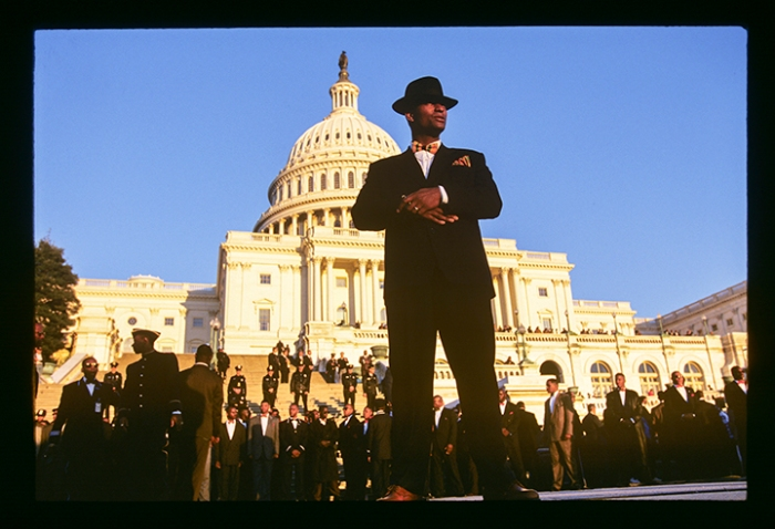 Fruit of Islam member at the end of the Million Man March, October 16, 1995