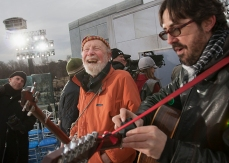 17 January 2009 -- Pete Seeger and his grandson in the wings before rehearsal for Barack Obama's inaugural concert at Lincoln Memorial.