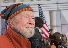 Pete Seeger in the wings before rehearsal for Barack Obama's inaugural concert at Lincoln Memorial, January 2009.