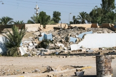 Rubble of police station in Jurf-as_Sakr that was destroyed by militants. The police chief was executed 500 meters from the front door, Babil Province, August 15, 2004